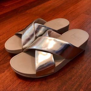 0154c5119fbd Fitflop Shoes -  Fitflop  SWOOP Slide Sandals - Silver Mirror